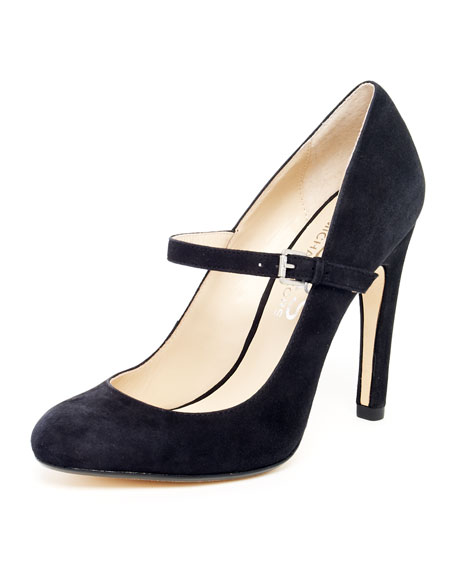 Galli Suede Mary Jane Pump, Black or Crimson