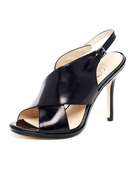 Jove Leather Crisscross Strappy Sandal, Black