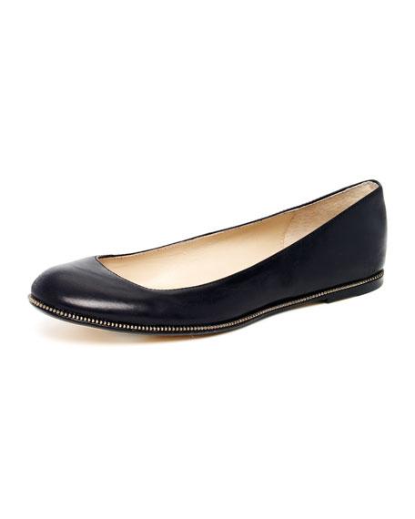Odelle Leather Zip-Sole Ballet Flat, Black