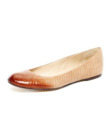 Olympia Snake Ballet Flat, Sand or Crimson