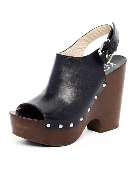 Scotia Leather Clog Platform Sandal, Black