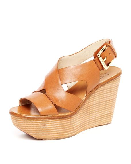 Virsana Strappy Leather Wedge Sandal, Dark Tan