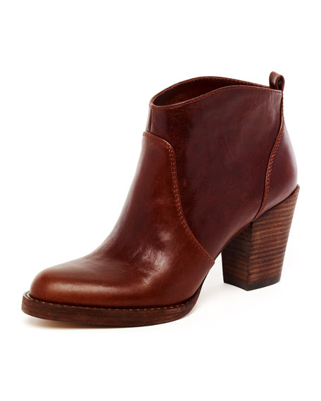 Wayland Short Leather Boot, Coffee