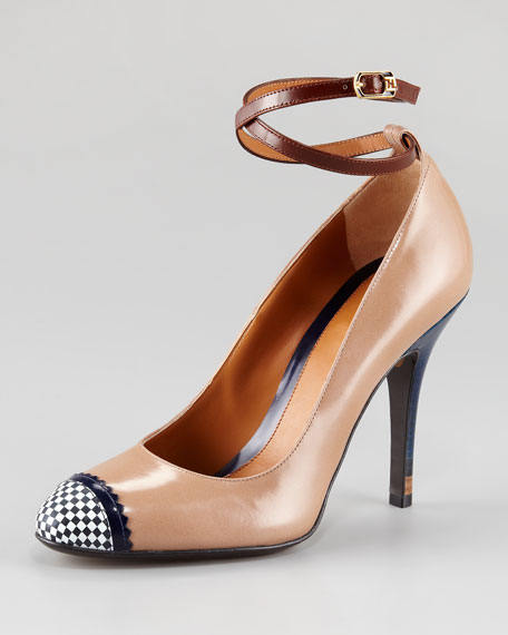 Persuasion Leather Ankle-Wrap Pump