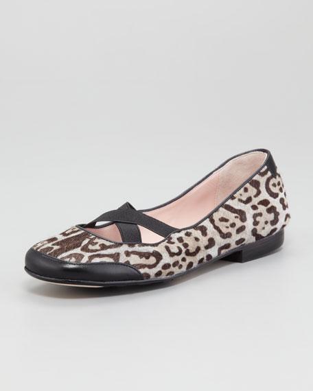Leopard-Print Calf Hair Ballerina Flat