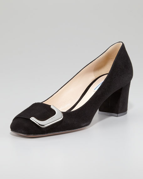 Suede Side-Buckle Block-Heel Pump