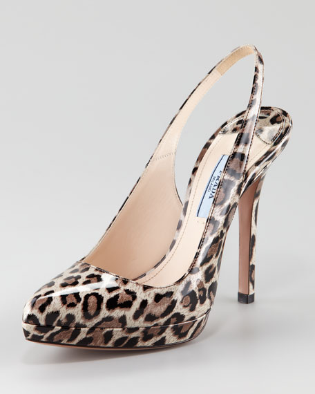 Leopard-Print Patent Leather Slingback