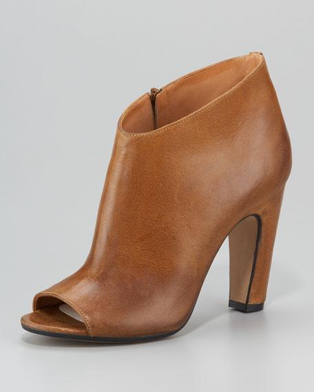 Mid-Heel Peep-Toe Ankle Boot