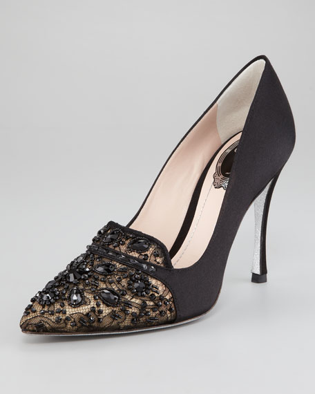 Bead-Embellished Satin Lace Pump