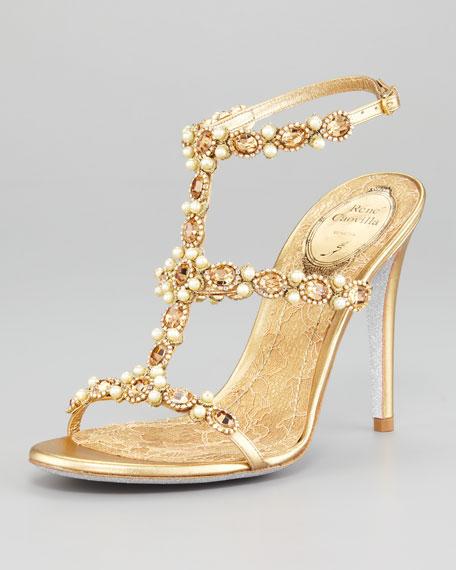 T-Strap Beaded Sandal
