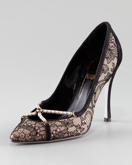 Lace-Overlay Pump