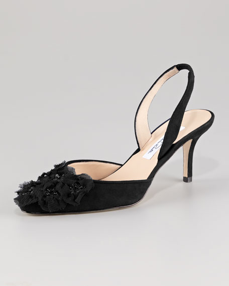 Floral Applique Pointed Toe Slingback Pump