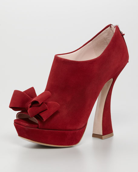 Suede Bow Peep-Toe Bootie