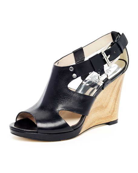 Briyette Leather Cutout Wedge Sandal