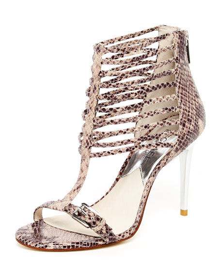 Molly Python-Embossed Leather Cage Sandal, Dark Sand