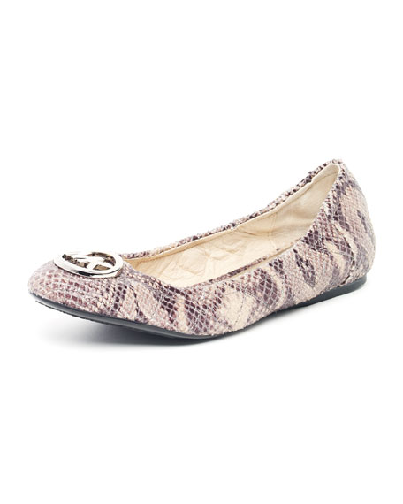 Fulton Quilted Python-Embossed Ballet Flat