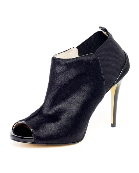 Genivee Calf Hair Open-Toe Bootie