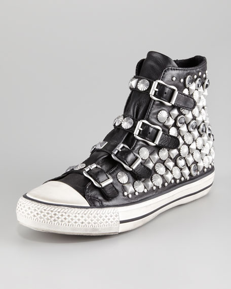 Victim Bejeweled Leather Sneaker