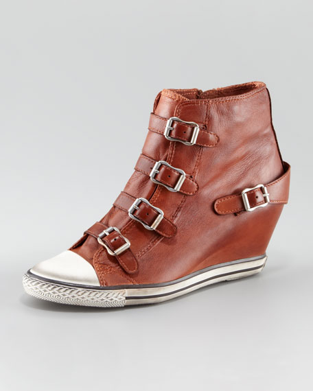 Leather Buckle Wedge Sneaker
