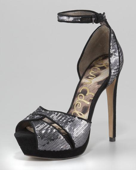 Paisley Sequin Ankle-Wrap Sandal