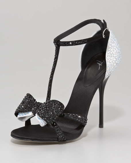 Bejeweled Two-Tone Bow-Toe Sandal