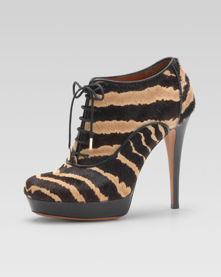 Printed Calf Hair Lace-Up Bootie