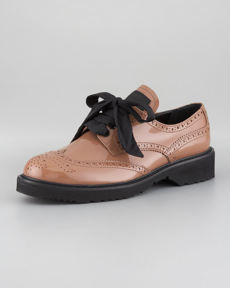 Patent Leather Puffy-Bow Wingtip