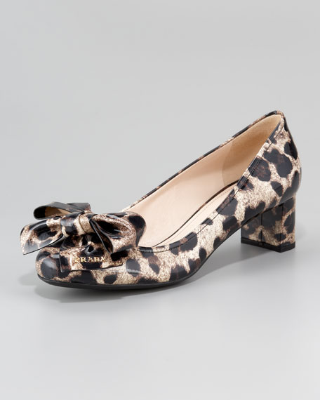 Printed Patent Leather Block-Heel Pump