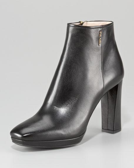 Leather Square-Toe Platform Bootie