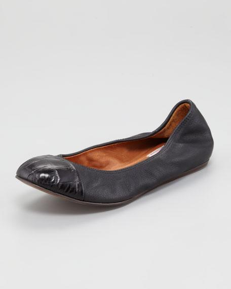 Crocodile-Embossed Cap-Toe Ballerina Flat