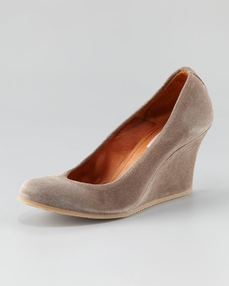 Suede Wedge with Rubber Sole