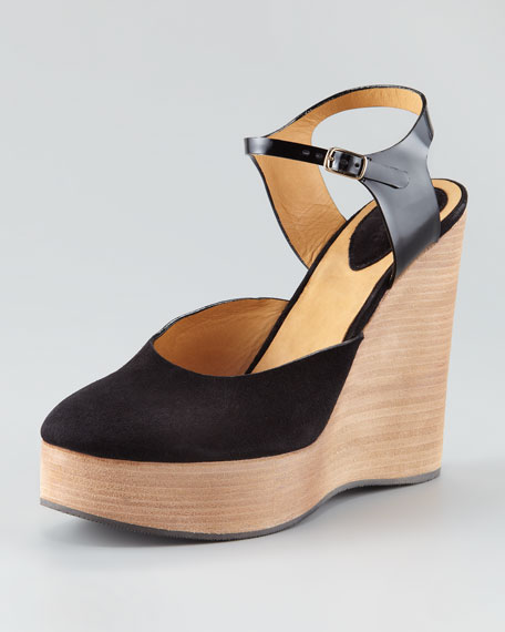Suede Ankle-Wrap Wedge Sandal