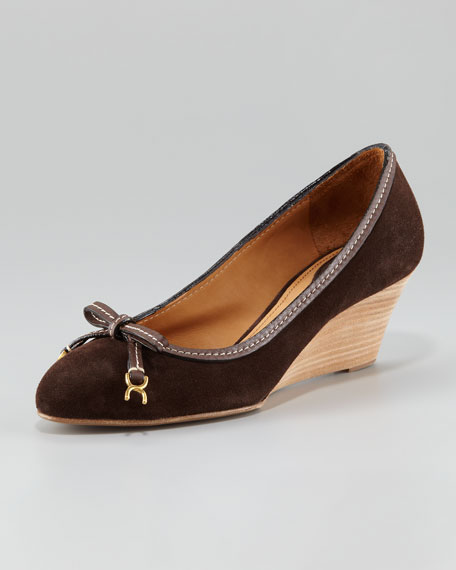 Leather Bow Suede Wedge