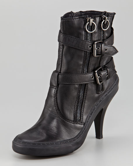 Double-Zip Buckled Ankle Boot