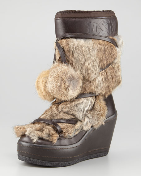 Fur-Front Short Wedge Boot