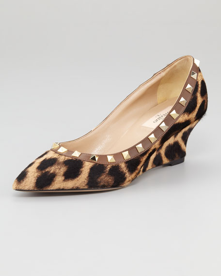 Rockstud Leopard-Print Calf Hair Wedge Pump