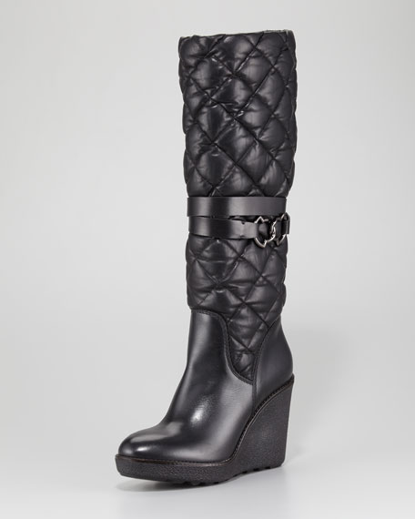 Cernobbio Quilted Leather Wedge Boot