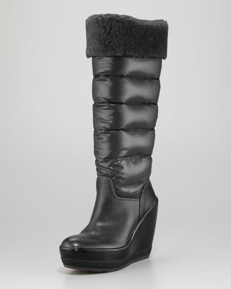 Locarno Quilted Leather Wedge Boot