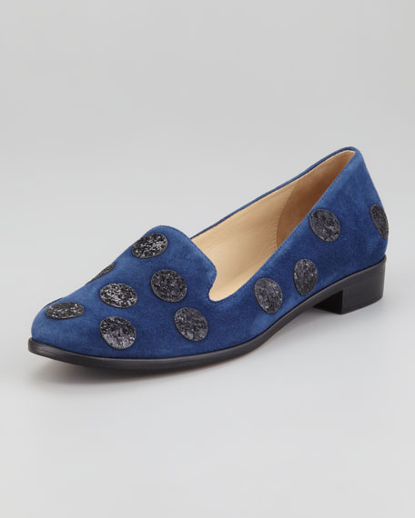 carissa glitter-dot smoking slipper, navy