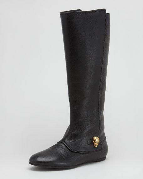 Skull-Button Flat Boot