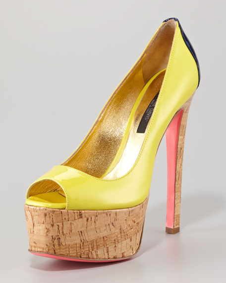 Patent Leather Colorblock Cork-Platform Pump