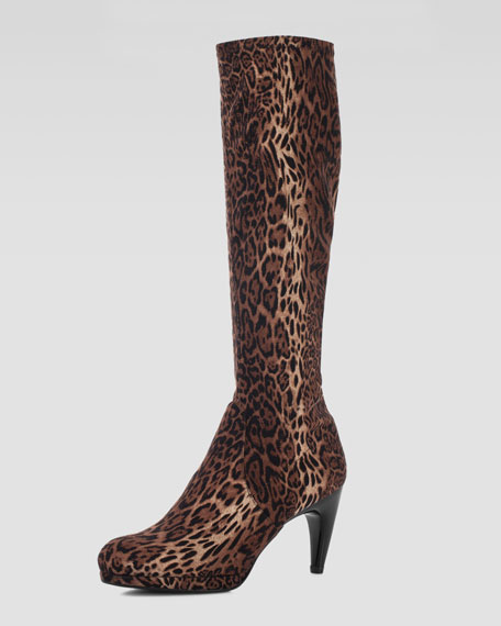 Jefe Stretch Leopard-Print Knee Boot