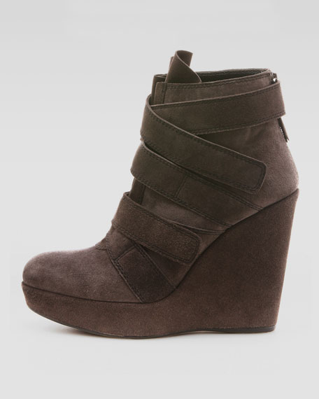Wildchild Strappy Suede Wedge Bootie