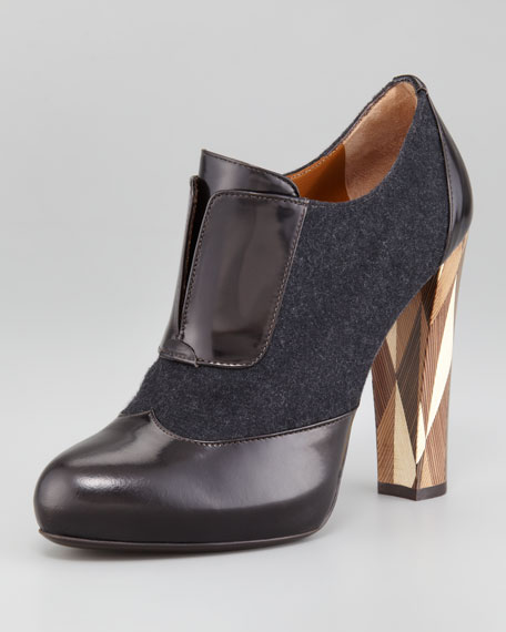 Wuthering Heights Wool Leather-Trim Bootie
