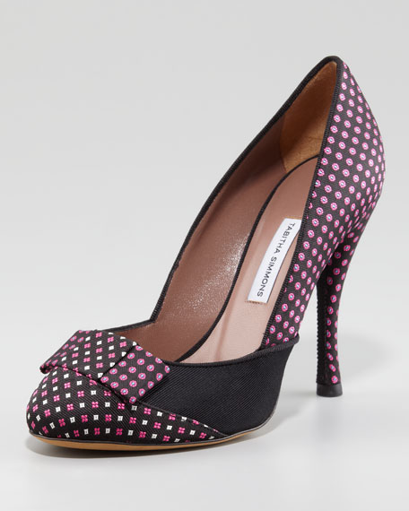 Frida Necktie Silk Checker Pump