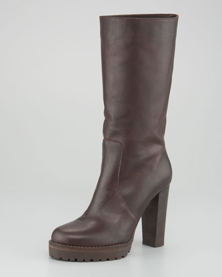 Mid-Shaft Leather Boot
