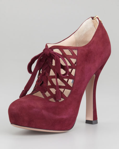 Laced Zip-Back Platform Bootie
