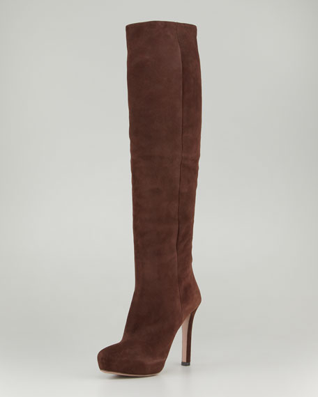 Internal Platform Heeled Suede Boot