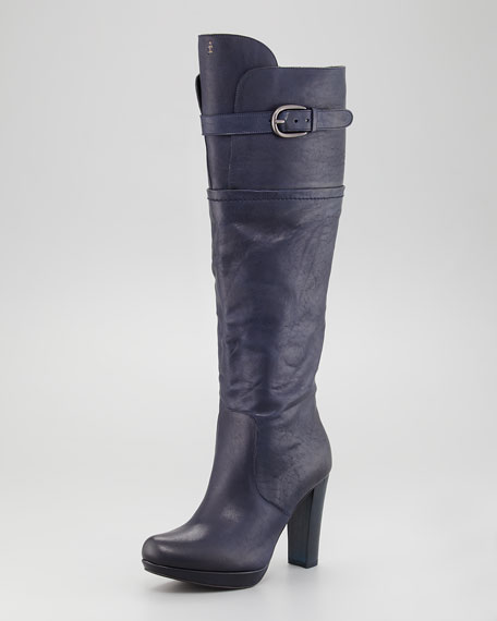 Leather Buckle Platform Boot