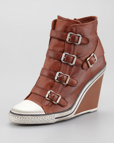 Buckled Leather Wedge Sneaker